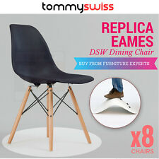 TOMMY SWISS: PANTONE 8x Black Replica Eames Dining Chair Eiffel DSW Cafe Kitchen