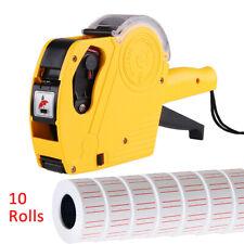10 Rolls 5000pcs White Price Tag Sticker Gun Labels Paper Refill Mx5500 w/ 1 ink
