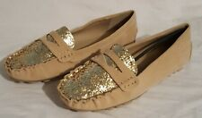 NIB BAMBOO TAN GOLD GLITTER TOE COMFORT PENNY LOAFER MOCCASIN FLAT SHOES 8.5M