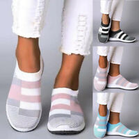 ❤️ Womens Knit Running Trainers Sneakers Slip On Comfy Sports Jogging Shoes Size