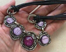 "Bold Medallion Necklace Iridescent Purple Disks Pewter Tone Black Cord 16-17"""