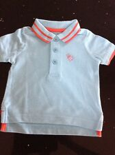 Boys Mothercare Turquoise Blue Polo Shirt Top Age 3-6 Months