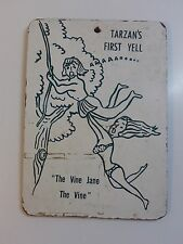 "Vintage Mid Century Wall Plaque - NAUGHTY TARZAN & JANE Swinging Vine -6.5"" x 9"""