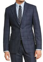 Calvin Klein Mens Suit Jacket Blue Size 44 Short Slim Fit Plaid Blazer $450 268