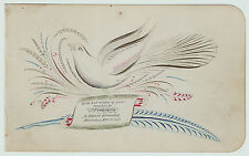 SUPERB - American Folk Art Drawing - Penmanship Teacher Bird 1881 Macedon NY