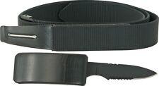 "Unbranded M3545 Belt Fixed Knife 3.375"" Blade Hidden In Buckle Black 44"""