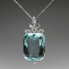 925 Sterling Silver Chain Aqua Cushion Pendant necklace wedding jewelry gift her