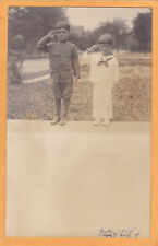 Real Photo Postcard RPPC Boy Soldier & Sailor Saluting