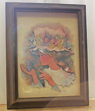 Vintage Art Paper Artist Picture Dimensional Girl Flowers Signed A. Gauerio