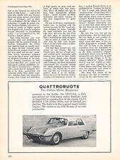 1966 Quattroruote Secura Zagato - Original Car Advertisement Print Ad J152