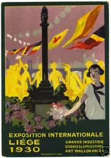 POSTCARD CHROMOLITH BELGIAN 1930 LIEGE INT'L EXPOSITION