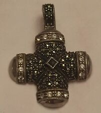 earring 925 sterling silver thailand Marcasite CZ Cross 7.6 Grams