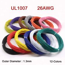 26AWG Flaxible Stranded Electronic Wire UL1007 PVC Cable O.D 1.3mm 12-Colors