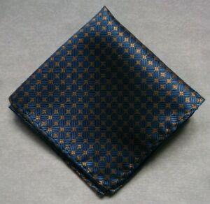 Hankie Pocket Square Handkerchief Hanky MENS Blue Gold Geometric Design