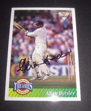 Allan Border (Australia) signed Cricket Card : Action batting  + COA / Proof