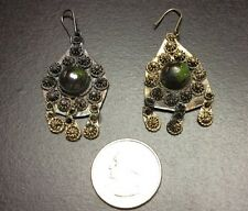 Vintage Antique Turkish Persian Silver Ear Rings Tarnished BEAUTIFUL D8