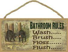 "Black Bear Bathroom Rules Brush Wash Flush Floss Bath Cabin  Sign Plaque 5""x10"""