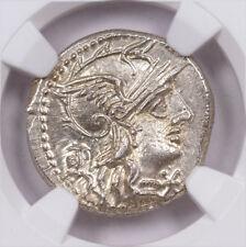 Roman Republic Silver Denarius of M Marcius c.134 Bc Ngc Ms* 5/5 4/5 Sku50213