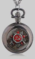 Soviet Logo Black Pocket Watch Mens Union USSR Moscow Vintage Putin Russia Old