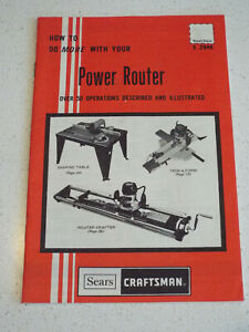Vintage 1977 Sears Craftsman POWER ROUTER Operations and How to Guide