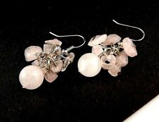 1 Natural Pair of Handmade Rose Quartz Gemstone Chips Dangle Earrings - #296