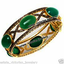 Vintage Antique 6.30cts Rose Cut Diamond Emerald Studded Silver Jewelry Bangle