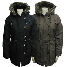 Polyester Patternless Parkas for Women