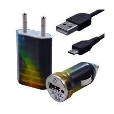 Mini Chargeur 3en1 Auto + Secteur USB + Câble Data avec CV06 pour HTC : One /