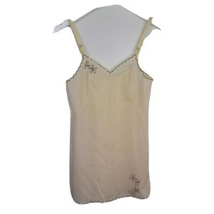 Vintage Bali Womens Ivory Embroidered Floral Full Slip Size 32 Small Vtg