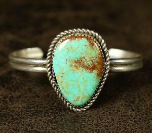 Vintage Navajo Royston TURQUOISE Sterling Silver CUFF Bracelet OLD PAWN Dainty