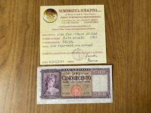 REPUBBLICA ITALIANA BANCONOTA LIRE 500 ITALIA 23 3 1961 NON COMUNE BB/SPL