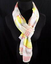 """Calvin Klein Plaid Scarf Orange Yellow Striped One Size 21.5"""" x 71"""" Retail $40"""