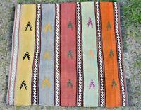 Hand Knotted Stripe Design Turkish Vintage Wool Oushak Kilim Doormat Rug 2x2 ft
