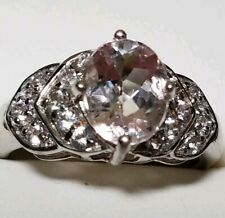 JD IS BACK!  1.67ct. Morganite and white topaz ring. Sterling  setting. SIZE 7