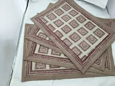 New listing Set of 4 Anokhi Placemats, Colorful Floral Maroon Tan Beige Dining, 100% Cotton