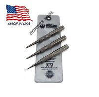 Wilde Tool 3pc Nail Set MADE IN USA High Carbon Steel 1/32, 1/16, 3/32 PT Cut