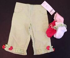 NWT Gymboree Butterfly Spring 0-3 Months Green Gingham Pants & 2pr Ruffle Socks