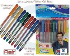 Flair Glitters Sparkle Pens Gel Pen 10 Assorted Colours Pack For Tattos , Cards