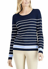 Karen Scott Women's Medium Striped Long Sleeves Pullover Sweater Navy NEW #17
