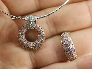 NH 14k White Gold Round Pink Diamonds And White Diamond Ring And necklace Set
