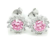 Womens Pink Cluster Flower CZ Earrings Stainless Steel Stud Round Cut Ladies