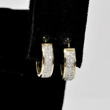 Ladies 10k Yellow White Gold Milgrain 1/8Ctw Diamond Accent Hoop Huggie Earrings