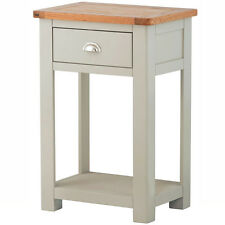 Padstow Painted Telephone Table / Solid Wood Grey Painted Console Table /Oak Top