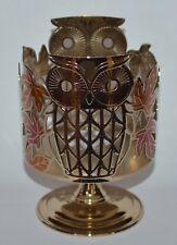 BATH & BODY WORKS OWL LEAVES PEDESTAL LARGE 3 WICK CANDLE HOLDER SLEEVE 14.5 OZ