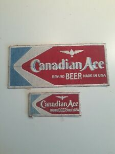 vintage rare original early 50's Canadian Ace Beer embroidered patch set