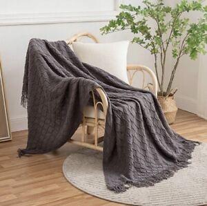 Aurora Rose Scandi Boho Super Soft Grey Twisted Tassel Sofa Baby Blanket Throw