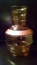 Vintage Depression Glass Amber Poesy Vase with Gold trim Floral Vase