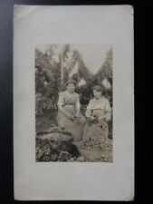 Kent LADDINGFORD? Hop Pickers Real Photograph Postcard of Two Female Hop Pickers