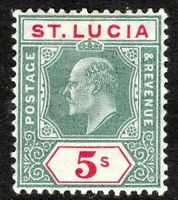 St Lucia 1904 green/carmine 5/- multi-crown CA p14 mint SG76