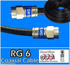 RG6 PCT F Black Coaxial Coax 0.5 - 100 Ft Cable Wire Satellite HD Antenna TV lot